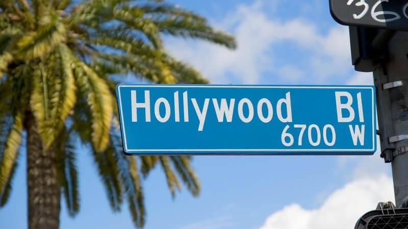 Straßenschild Hollywood Boulevard, im Hintergrund Palme