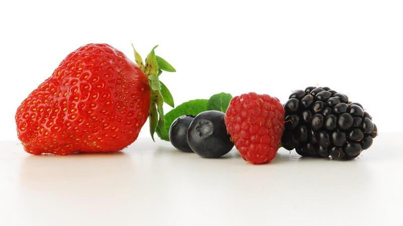 Nahaufnahme Erdbeere, Himbeere, Brombeere und zwei Heidelbeeren auf weißem Hintergrund