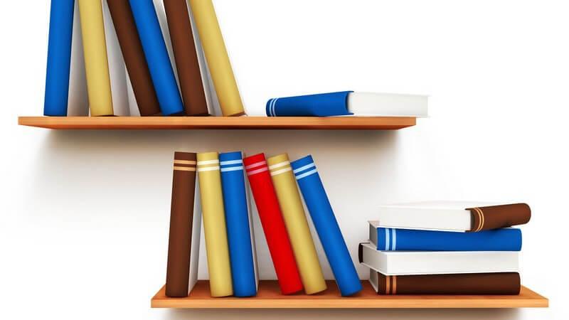 Grafik Bücher auf zwei Wandregalen