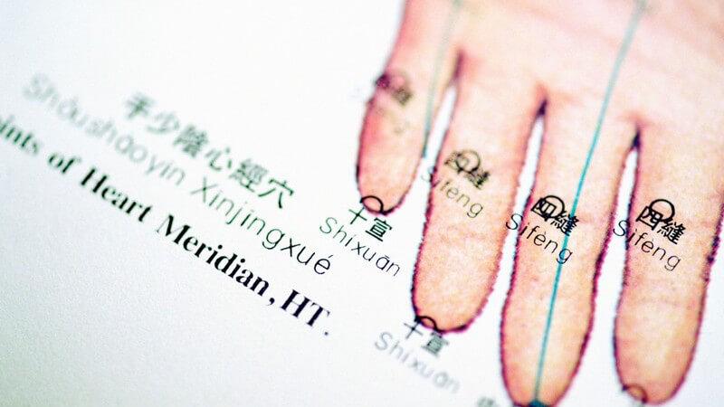 Auf Papier gezeichnete Hand mit Meridianpunkten für Akupunktur