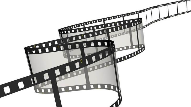 Grafik leeres Filmband auf weißem Hintergrund
