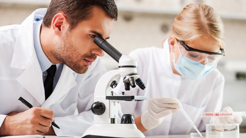 Mann und Frau im Labor, er guckt durch ein Mikroskop, sie sitzt mit Mundschutz und Schutzbrille vor einer Petrischale