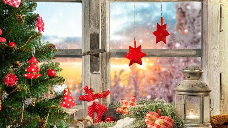 Weihnachtlich dekoriertes Holzfenster, Windlicht und rote Weihnachtsdeko, davor steht ein geschmückter Tannenbaum