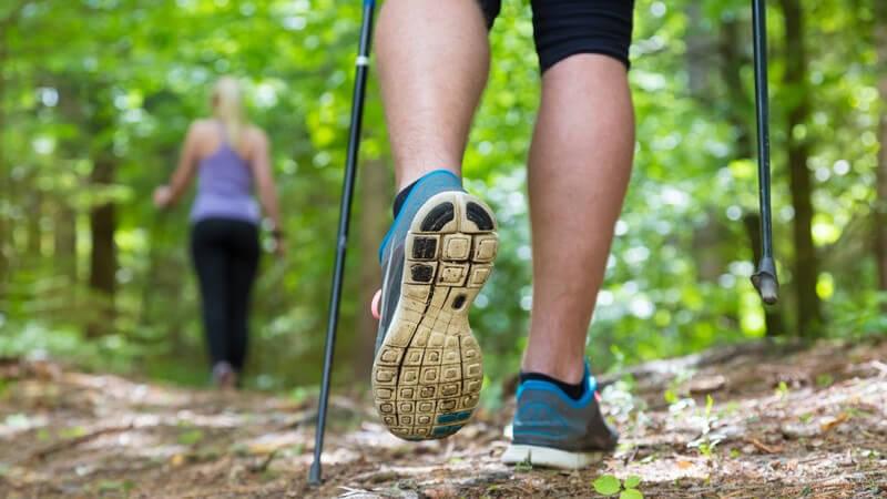 Rückansicht zweier Nordic-Walker im Wald