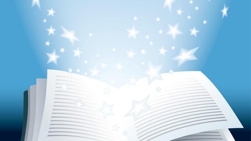 Grafik geöffnetes Buch, aus dem weiße Sterne fliegen