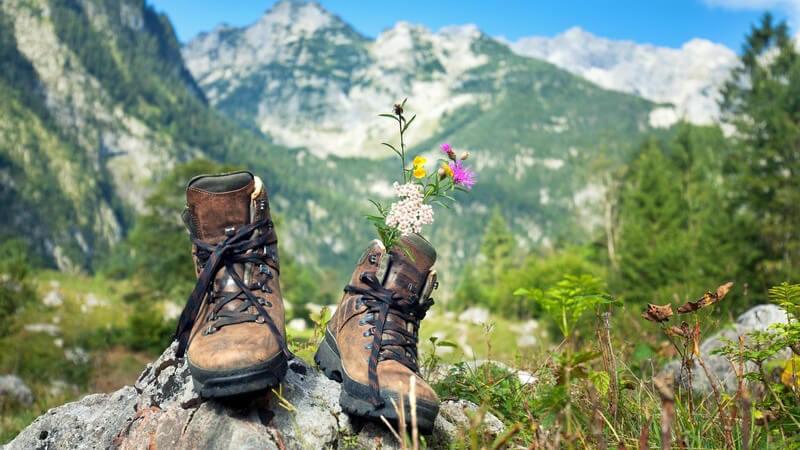Braune Wanderschuhe stehen auf einem kleinen Felsen im Gebirge, in einem Schuh stecken Blumen