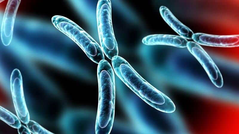 3-D-Grafik von X-Chromosomen vor abstraktem Hintergrund
