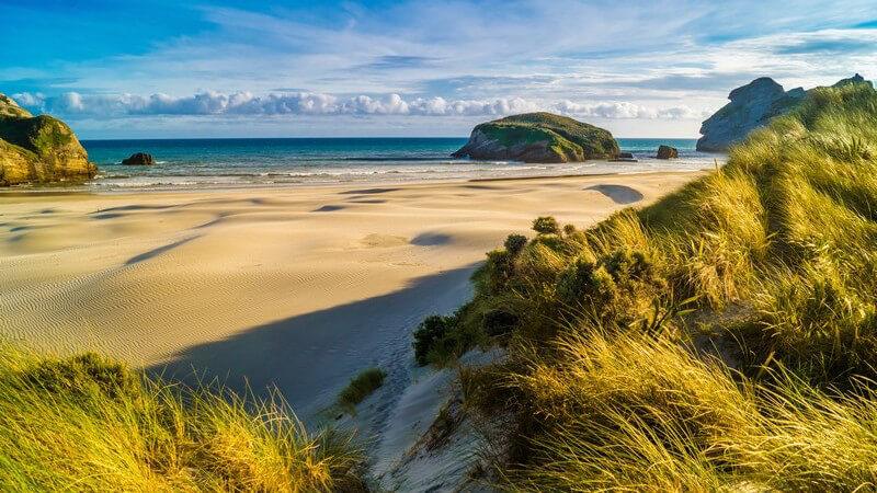 Blick auf Dünen am Sandstrand, im Hintergrund Meer