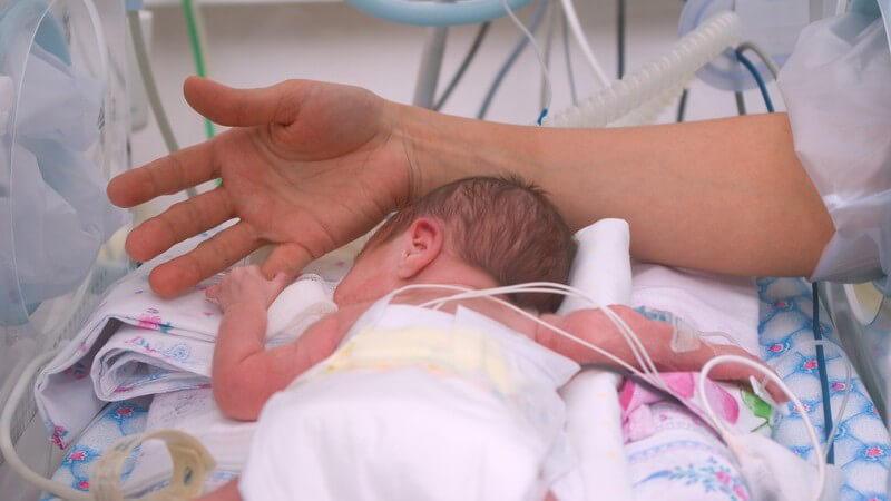 Neugeborenes liegt auf dem Bauch im Inkubator und hält Finger des Arztes