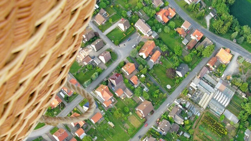 Sicht von oben auf eine Stadt aus einem Heißluftballon, Höhenangst