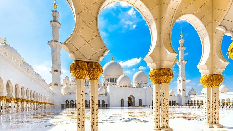 Die Scheich-Zayid-Moschee in Abu Dhabi, Vereinigten Arabische Emirate