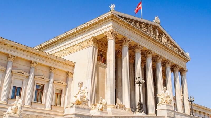 Das Parlamentsgebäude in Wien mit österreichischer Flagge unter blauem Himmel