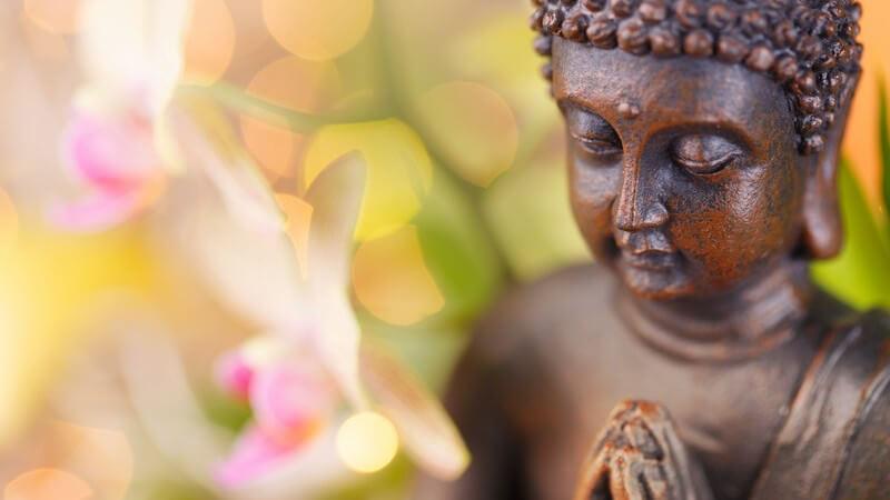 Braune Buddha-Figur neben rosa Blüten