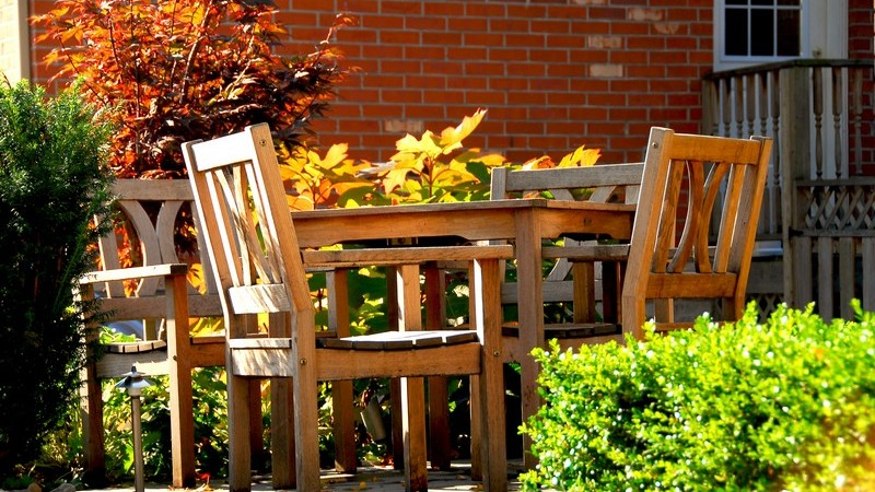 Terrasse mit Holzmöbeln umgeben von Pflanzen