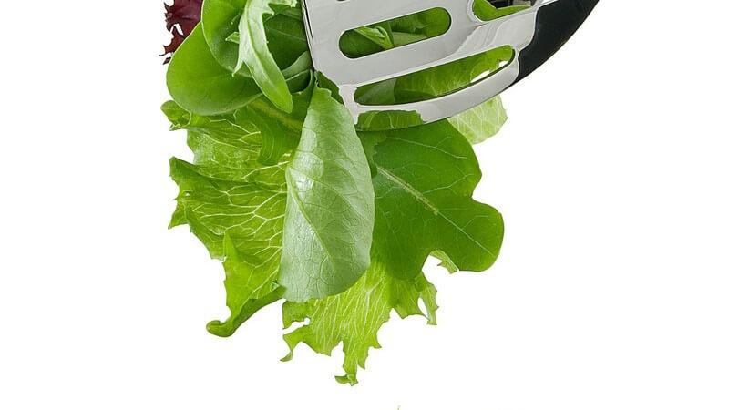 Frischer gemischter Salat wird aus Schüssel genommen