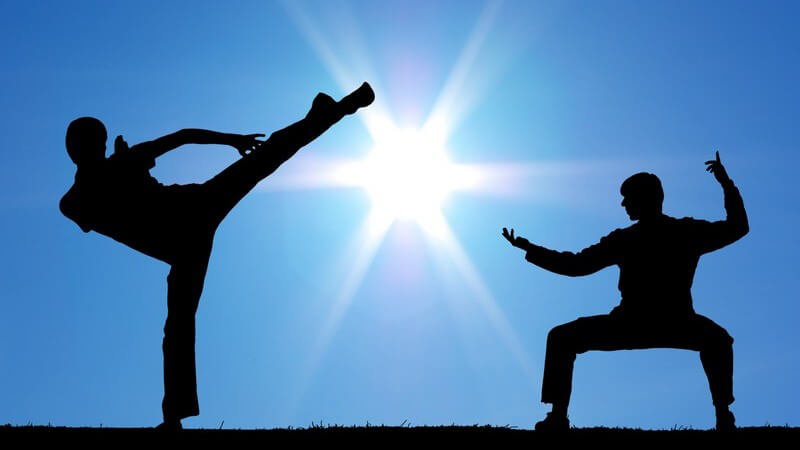Zwei Sportler beim Karate draußen