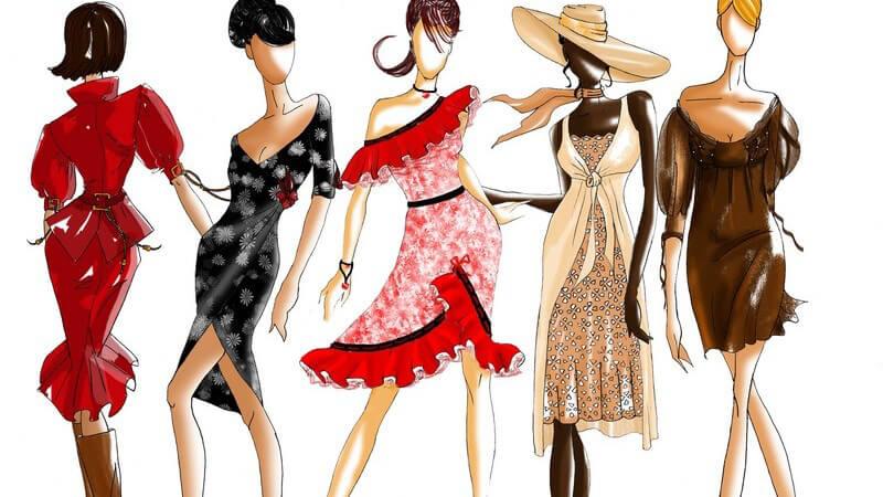 Bunte Zeichnung von sechs Models in Kleidern
