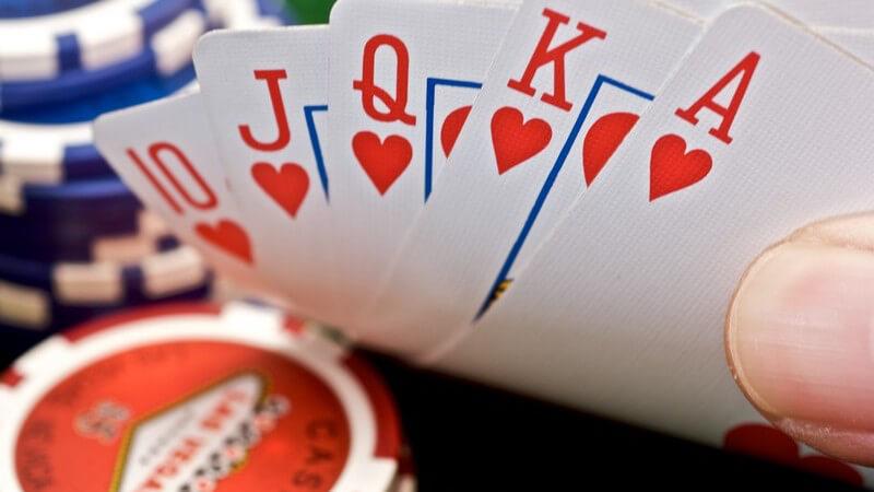 Nahaufnahme Spielkarten Royal Flush