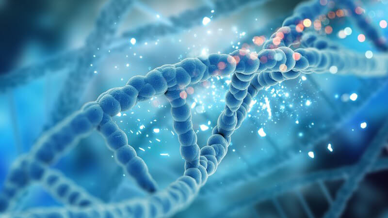 Blaue 3-D-Grafik eines DNA-Strangs
