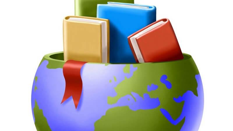 Gelbes, rotes, blaues und grünes Buch schauen aus offener Weltkugel heraus, an der Seite hängt rotes Band heraus
