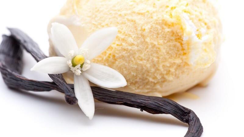 Nahaufnahme Vanilleeis mit Vanilleschote und Blüte