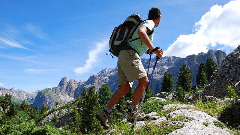 Wanderer mit Rucksack und Wanderstöcken in Berglandschaft